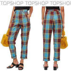TOPSHOP Blue Martha Check Plaid Trousers Pant Sz 4